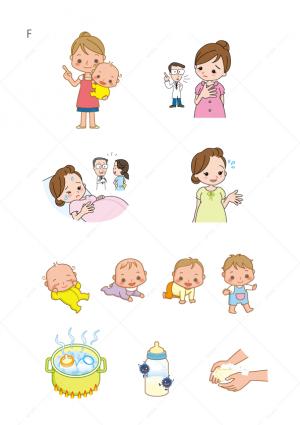 医療-赤ちゃん-妊娠-不安-成長-哺乳瓶-煮沸-手を洗う-イラスト