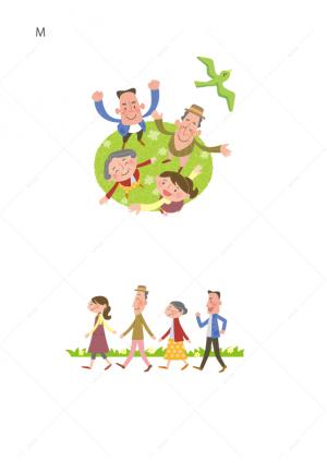 医療-家族-2世代-シニア-イラスト