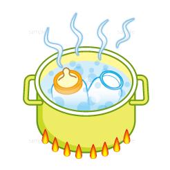 哺乳瓶を煮沸するイラスト