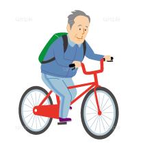 サイクリングする高齢者のイラスト