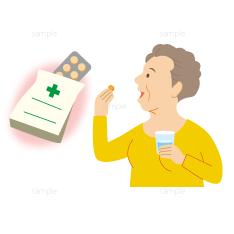 薬を飲む女性と薬の袋のイラスト