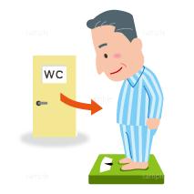 イラスト-トイレ-体重を計る