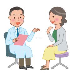 病院で医師と相談している患者イラスト