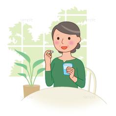 イラスト-服薬-薬を飲む-女性